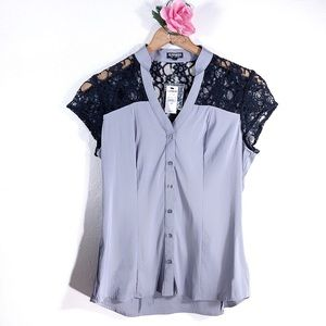 Express gray black lace button down short sleeve